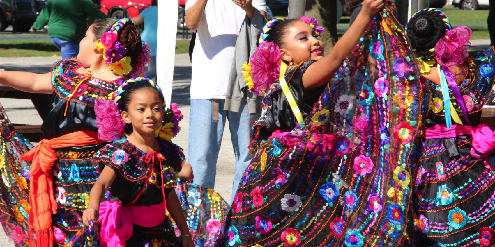 Young Girls Dressed in Baile Folklorico Dresses