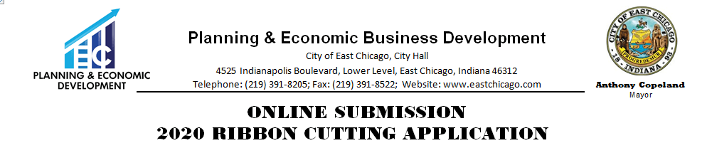 Ribbon Cutting Application Submission Header.