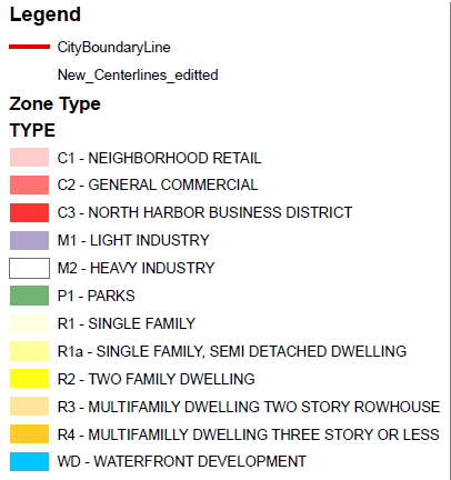 Zoning Map Legend.