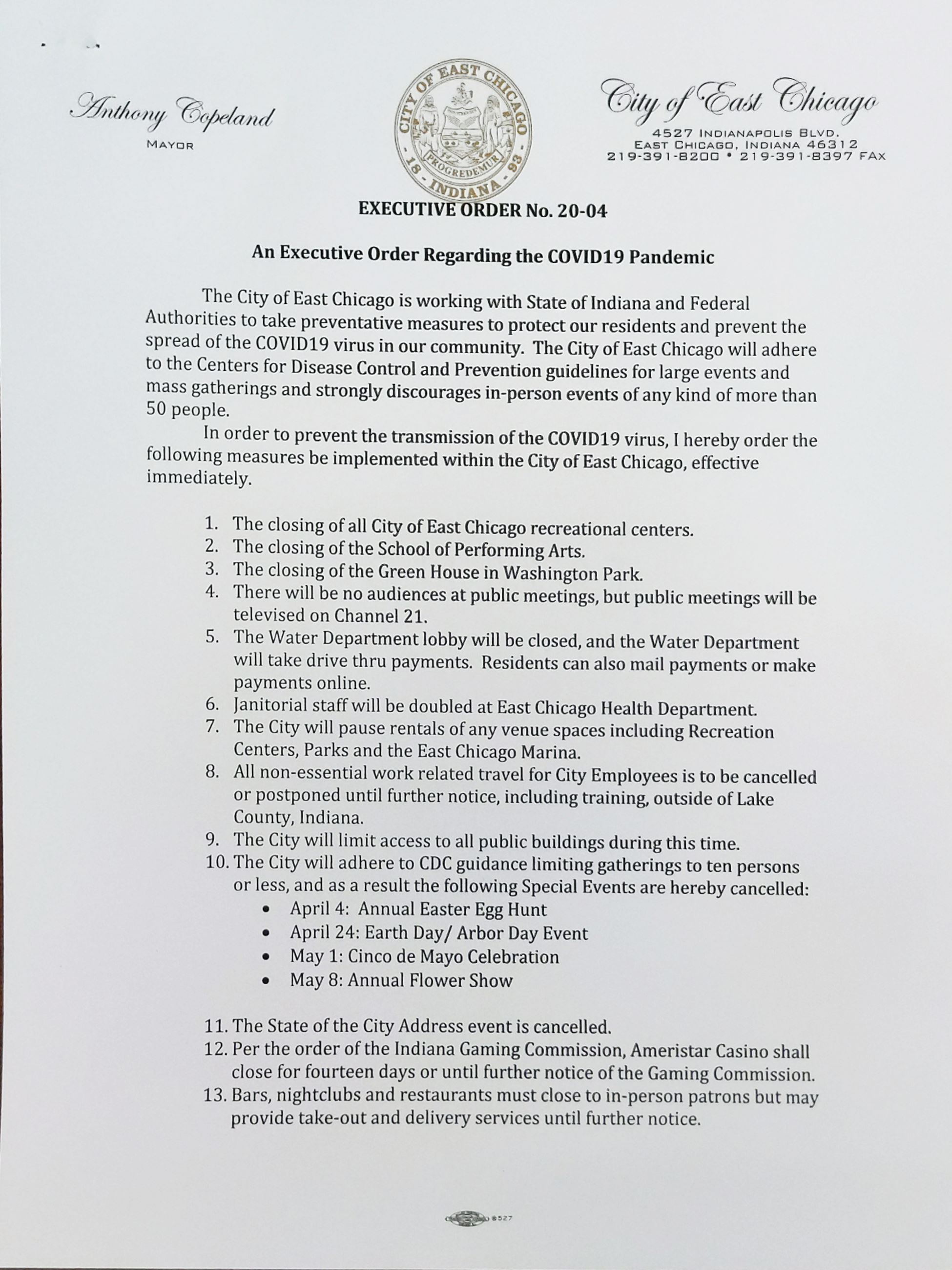 EXECUTIVE ORDER PAGE 1